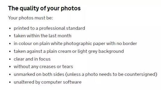 英国签证照片要求