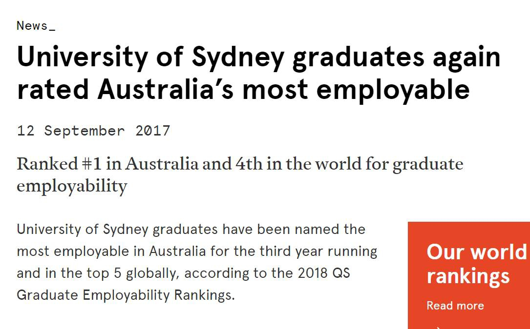 澳洲大学排名,QS全球就业力排名,澳洲大学就业,世界大学排名,澳洲大学申请