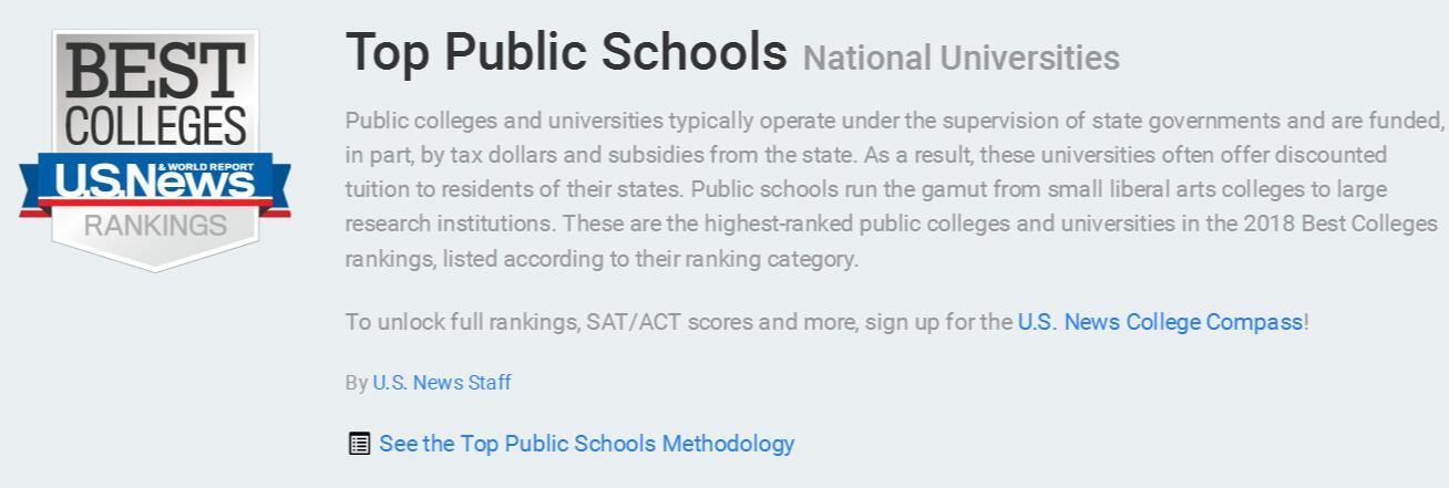美国公立大学排名