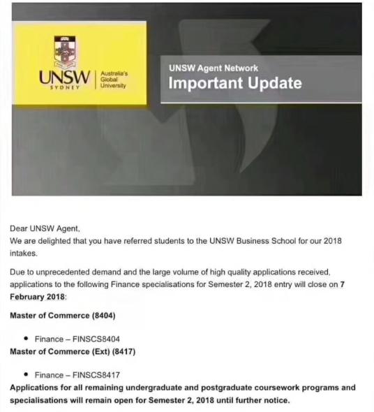 澳洲留学研究生,新南威尔士大学课程,澳洲商科