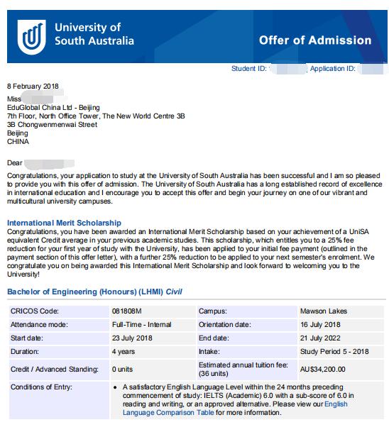 艾迪录取案例,艾迪留学,澳洲大学offer,澳洲大学录取