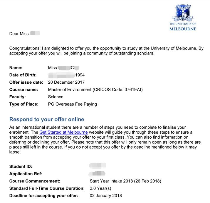 墨尔本大学,学生案例,墨尔本大学录取,艾迪成功案例,澳洲留学案例