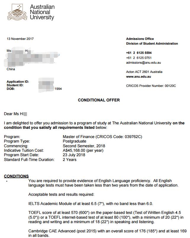 澳洲国立大学录取,澳洲大学offer,澳洲国立硕士录取,澳洲金融硕士录取